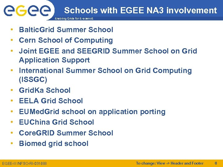 Schools with EGEE NA 3 involvement Enabling Grids for E-scienc. E • Baltic. Grid