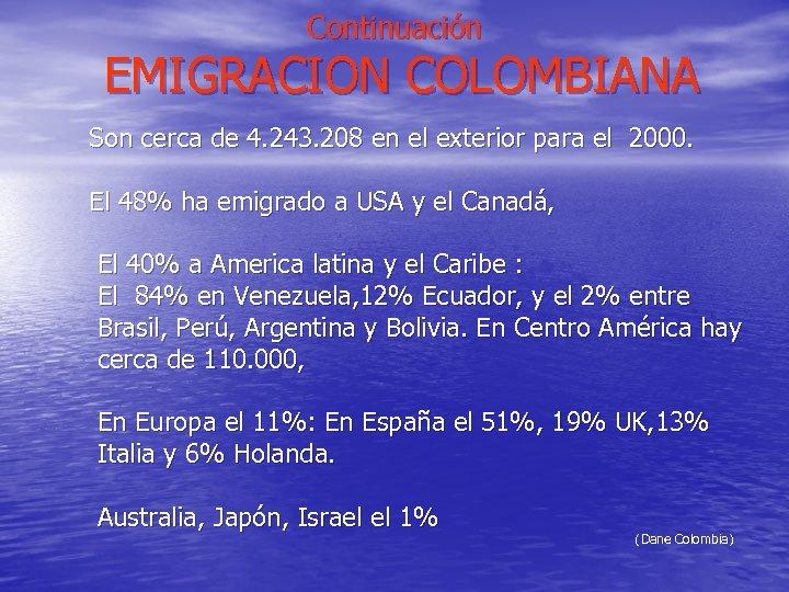 Continuación EMIGRACION COLOMBIANA Son cerca de 4. 243. 208 en el exterior para el