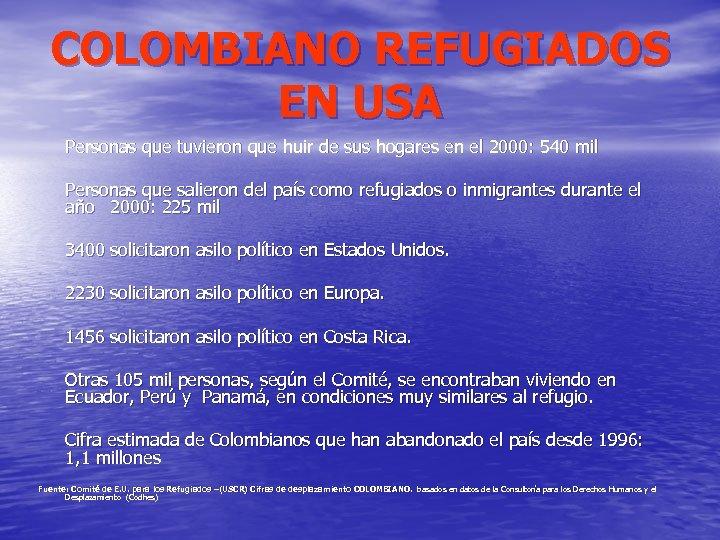 COLOMBIANO REFUGIADOS EN USA Personas que tuvieron que huir de sus hogares en el