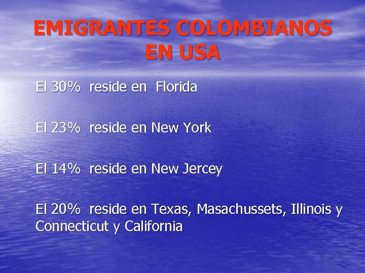 EMIGRANTES COLOMBIANOS EN USA El 30% reside en Florida El 23% reside en New