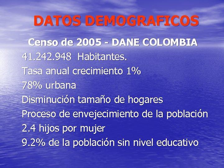 DATOS DEMOGRAFICOS Censo de 2005 - DANE COLOMBIA 41. 242. 948 Habitantes. Tasa