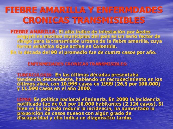 FIEBRE AMARILLA Y ENFERMDADES CRONICAS TRANSMISIBLES FIEBRE AMARILLA: El alto índice de infestación por
