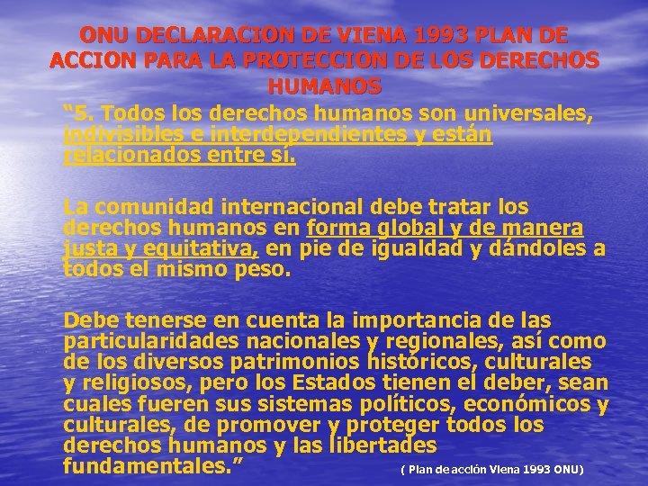ONU DECLARACION DE VIENA 1993 PLAN DE ACCION PARA LA PROTECCION DE LOS DERECHOS