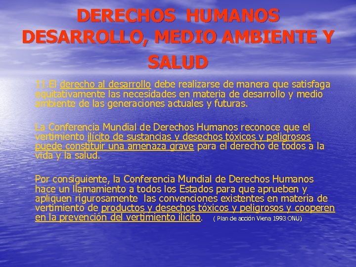 DERECHOS HUMANOS DESARROLLO, MEDIO AMBIENTE Y SALUD 11. El derecho al desarrollo debe realizarse