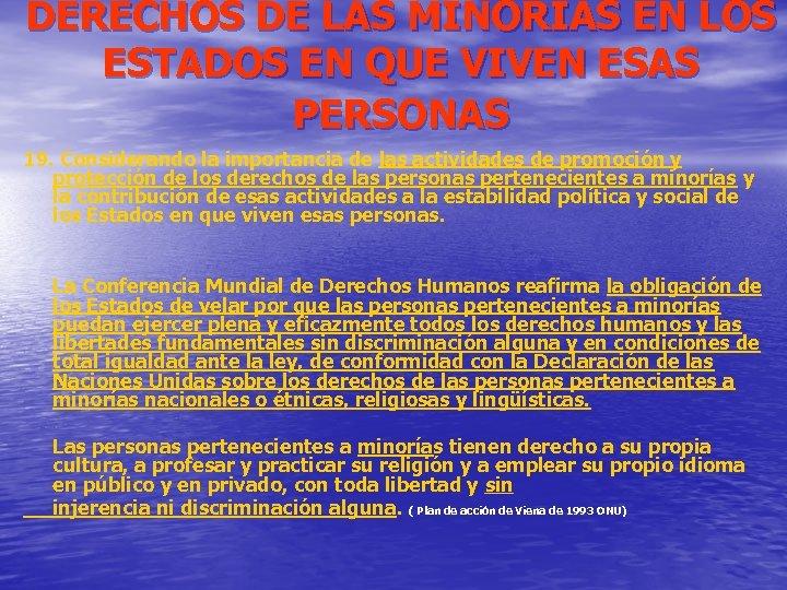 DERECHOS DE LAS MINORIAS EN LOS ESTADOS EN QUE VIVEN ESAS PERSONAS 19. Considerando