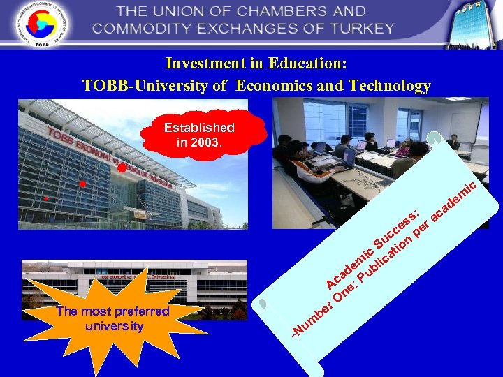 Investment in Education: TOBB-University of Economics and Technology Established in 2003. ic s: The