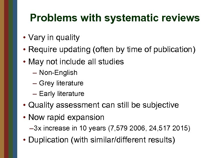 Problems with systematic reviews • Vary in quality • Require updating (often by time