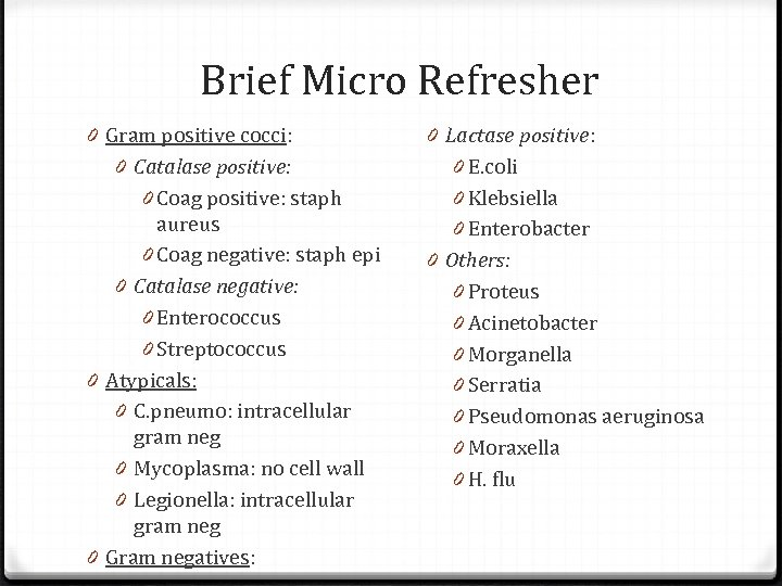 Brief Micro Refresher 0 Gram positive cocci: 0 Catalase positive: 0 Coag positive: staph