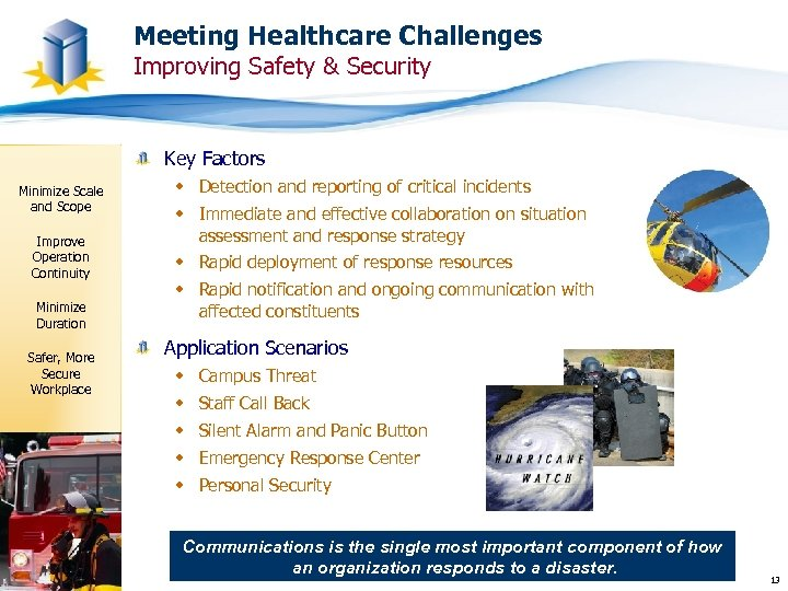 Meeting Healthcare Challenges Improving Safety & Security Key Factors Minimize Scale and Scope Improve