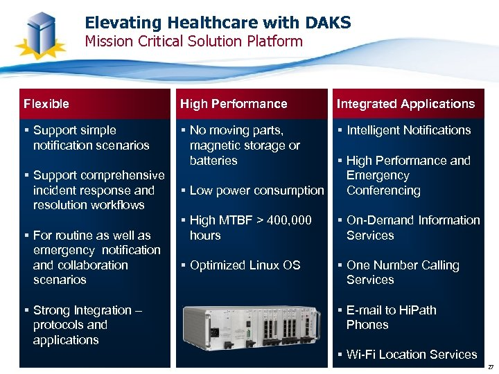 Elevating Healthcare with DAKS Mission Critical Solution Platform Flexible High Performance Integrated Applications §