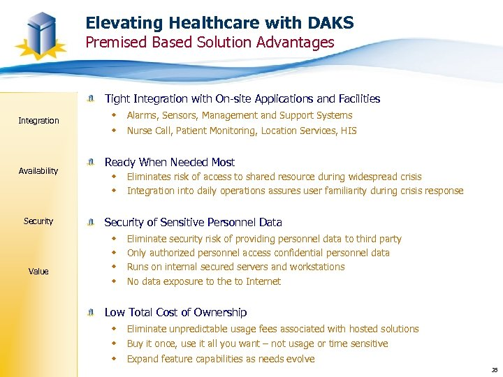 Elevating Healthcare with DAKS Premised Based Solution Advantages Tight Integration with On-site Applications and