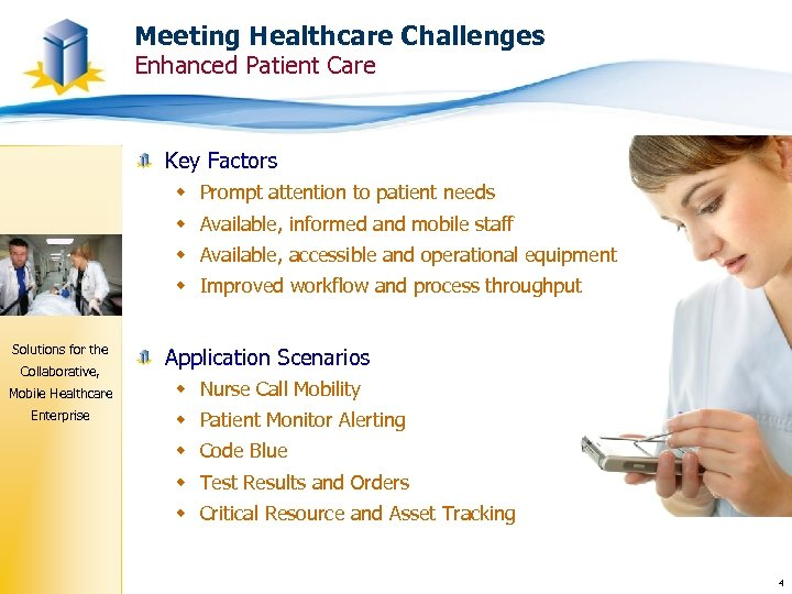 Meeting Healthcare Challenges Enhanced Patient Care Key Factors w Prompt attention to patient needs