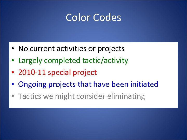 Color Codes • • • No current activities or projects Largely completed tactic/activity 2010