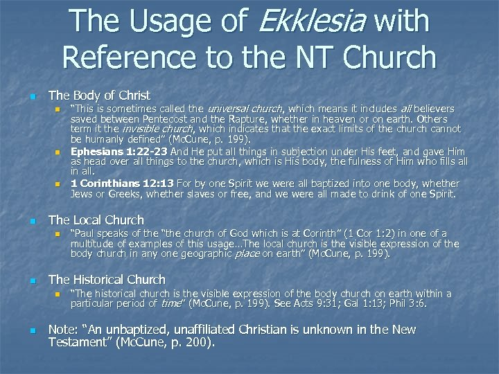 The Usage of Ekklesia with Reference to the NT Church n The Body of