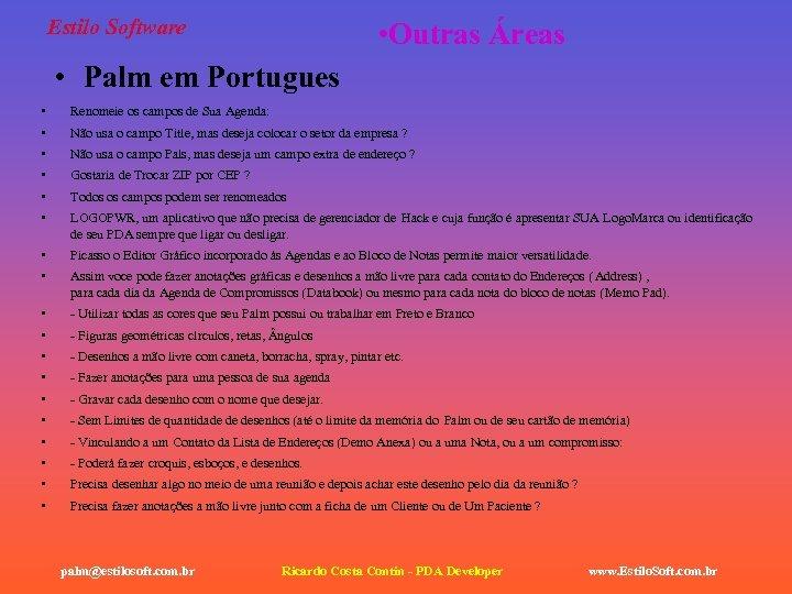 Estilo Software • Outras Áreas • Palm em Portugues • Renomeie os campos de