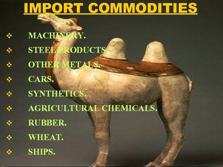 IMPORT COMMODITIES v MACHINERY. v STEEL PRODUCTS. v OTHER METALS. v CARS. v SYNTHETICS.