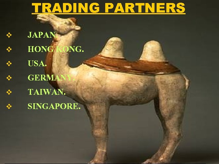 TRADING PARTNERS v JAPAN. v HONG KONG. v USA. v GERMANY. v TAIWAN. v
