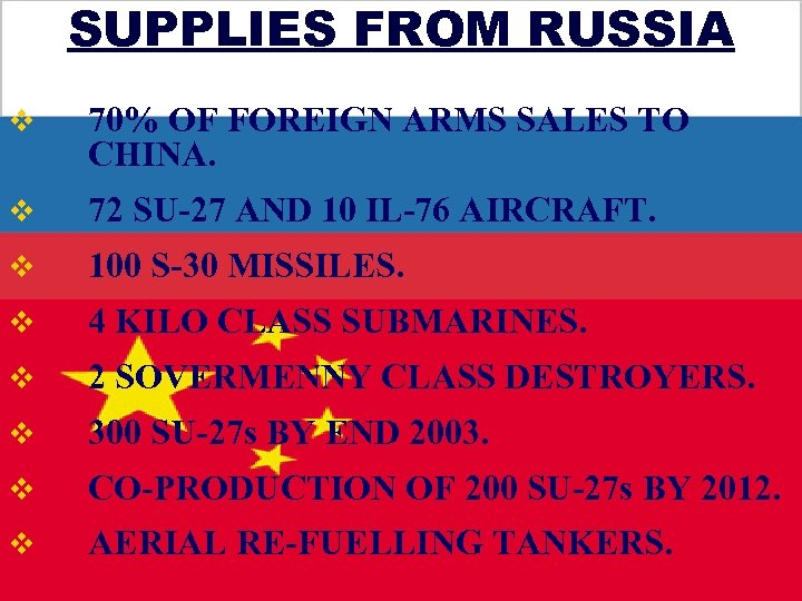 SUPPLIES FROM RUSSIA v 70% OF FOREIGN ARMS SALES TO CHINA. v 72 SU-27