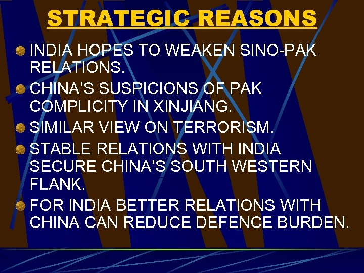 STRATEGIC REASONS INDIA HOPES TO WEAKEN SINO-PAK RELATIONS. CHINA'S SUSPICIONS OF PAK COMPLICITY IN