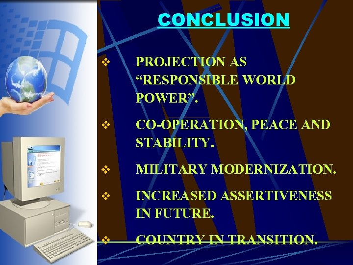"CONCLUSION v PROJECTION AS ""RESPONSIBLE WORLD POWER"". v CO-OPERATION, PEACE AND STABILITY. v MILITARY"