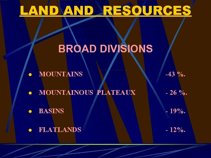 LAND RESOURCES BROAD DIVISIONS l MOUNTAINS -43 %. l MOUNTAINOUS PLATEAUX - 26 %.