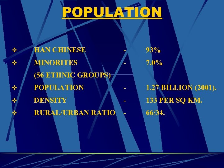 POPULATION v HAN CHINESE - 93% v MINORITES - 7. 0% (56 ETHNIC GROUPS)