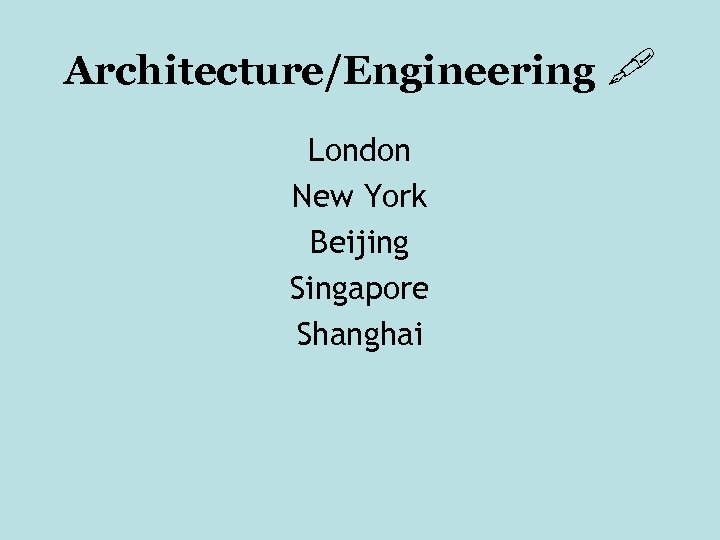 Architecture/Engineering London New York Beijing Singapore Shanghai