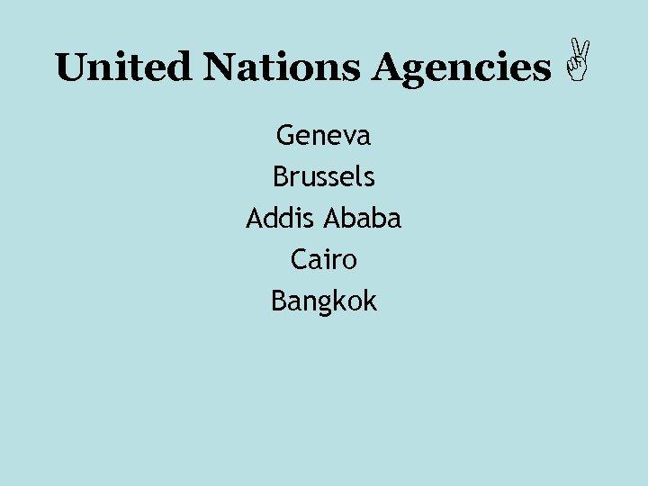 United Nations Agencies Geneva Brussels Addis Ababa Cairo Bangkok