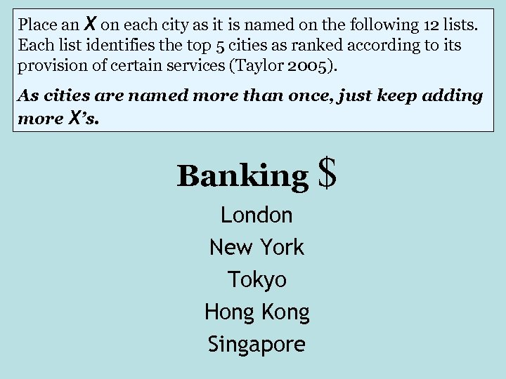 Place an X on each city as it is named on the following 12