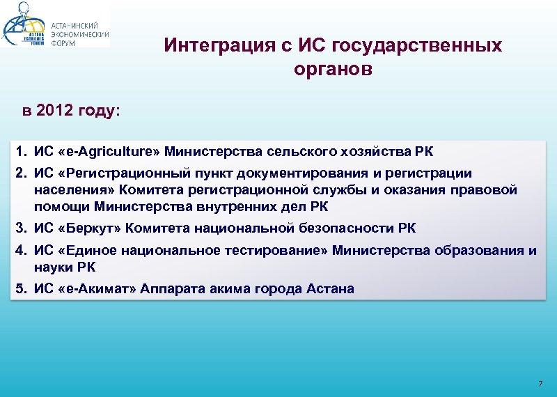 Интеграция с ИС государственных органов в 2012 году: 1. ИС «e-Agriculture» Министерства сельского хозяйства