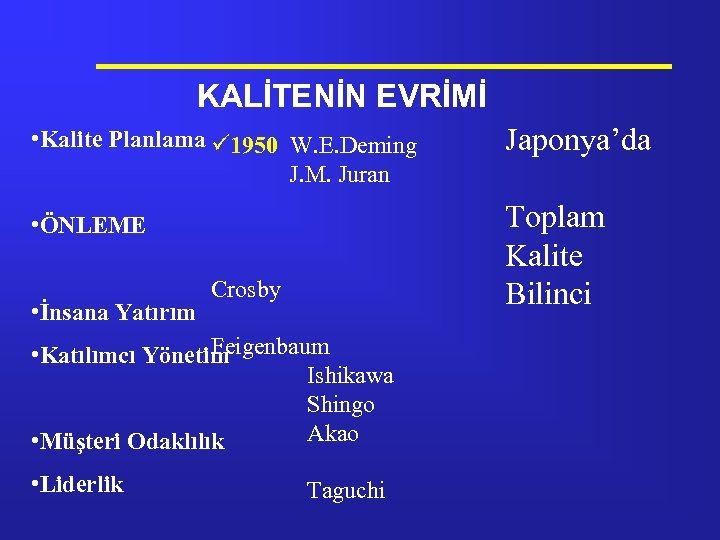 KALİTENİN EVRİMİ • Kalite Planlama ü 1950 W. E. Deming J. M. Juran Toplam