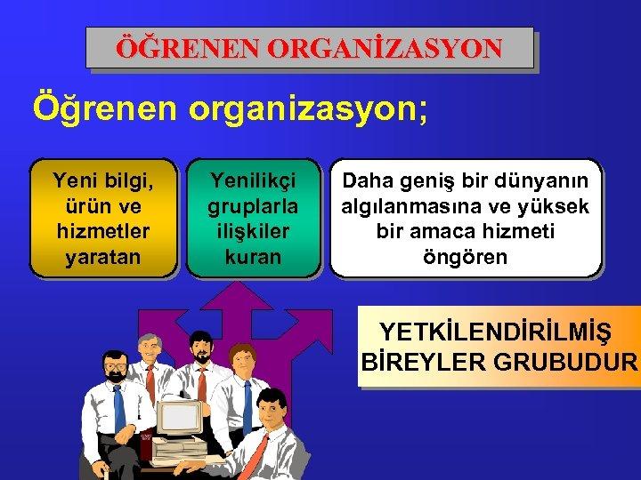 ÖĞRENEN ORGANİZASYON Öğrenen organizasyon; Yeni bilgi, ürün ve hizmetler yaratan Yenilikçi gruplarla ilişkiler kuran