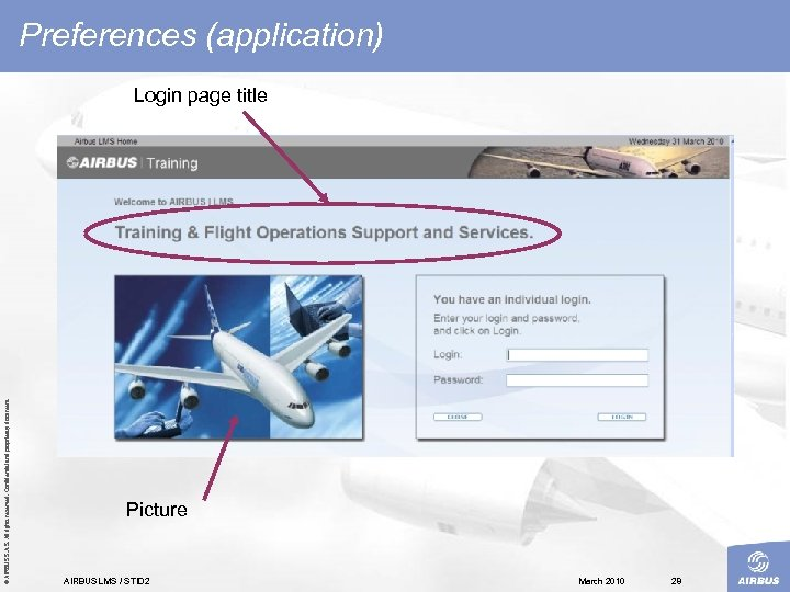Preferences (application) © AIRBUS S. All rights reserved. Confidential and proprietary document. Login page