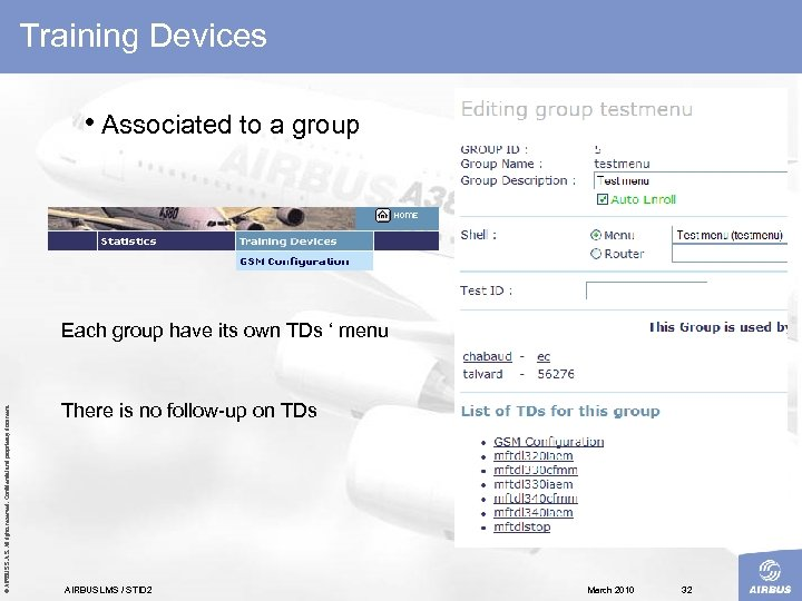 Training Devices • Associated to a group © AIRBUS S. All rights reserved. Confidential