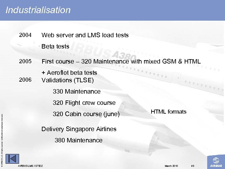 Industrialisation 2004 Web server and LMS load tests Beta tests 2005 First course –