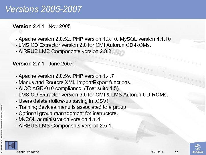 Versions 2005 -2007 Version 2. 4. 1 Nov 2005 Apache version 2. 0. 52,