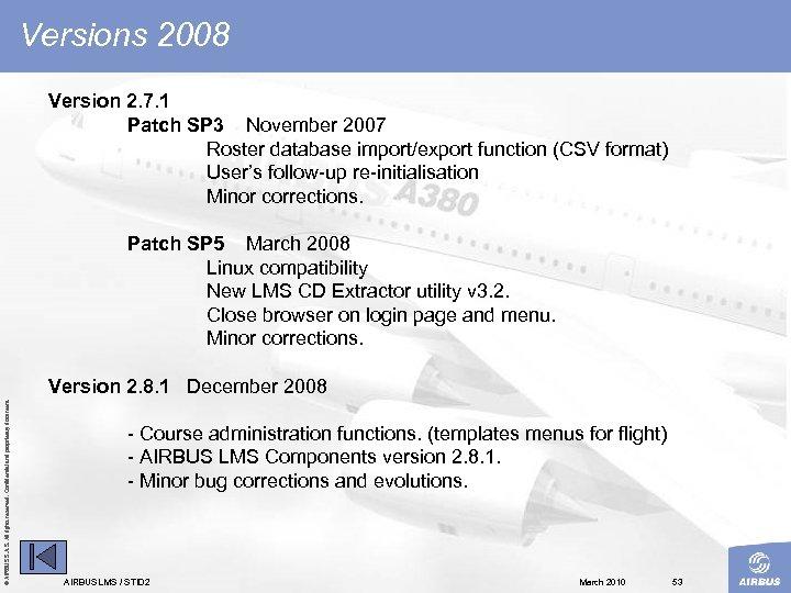 Versions 2008 Version 2. 7. 1 Patch SP 3 November 2007 Roster database import/export