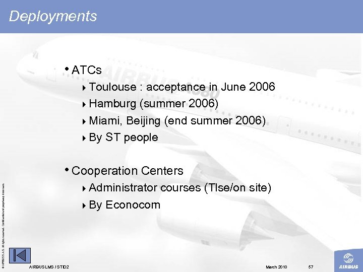 Deployments • ATCs 4 Toulouse : acceptance in June 2006 4 Hamburg (summer 2006)
