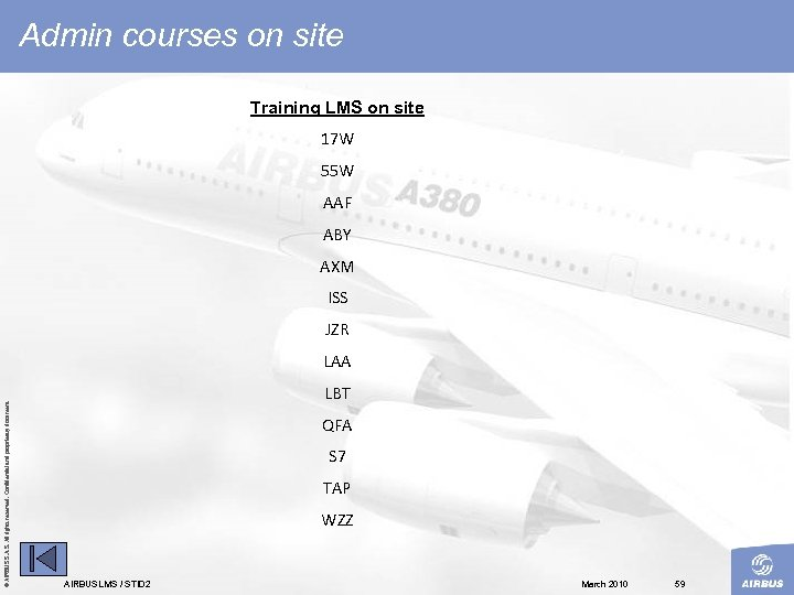 Admin courses on site Training LMS on site 17 W 55 W AAF ABY
