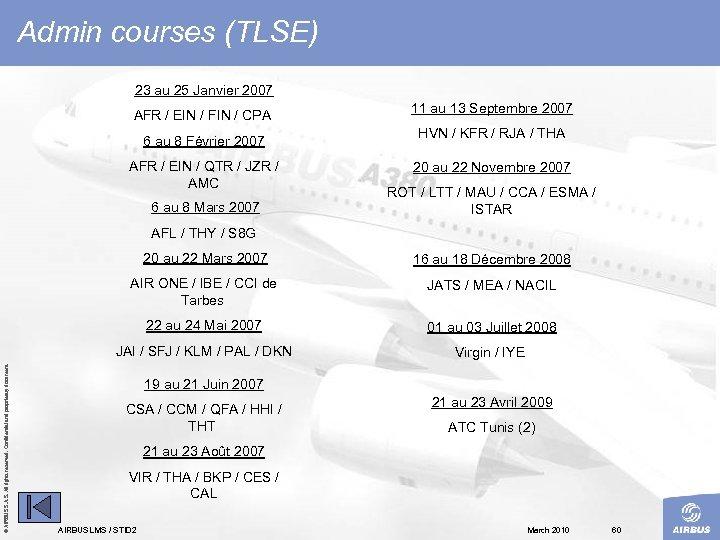 Admin courses (TLSE) 23 au 25 Janvier 2007 AFR / EIN / FIN /