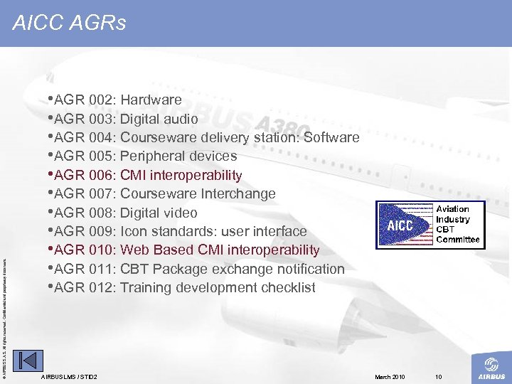 © AIRBUS S. All rights reserved. Confidential and proprietary document. AICC AGRs • AGR