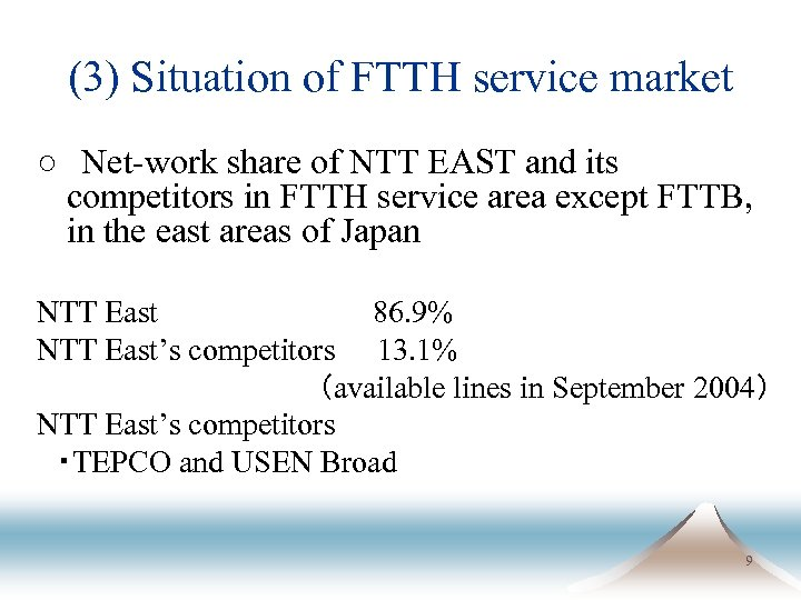 (3) Situation of FTTH service market ○ Net-work share of NTT EAST and its competitors