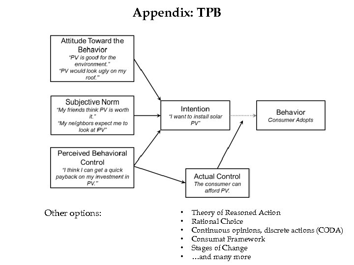 Appendix: TPB Other options: • • • Theory of Reasoned Action Rational Choice Continuous