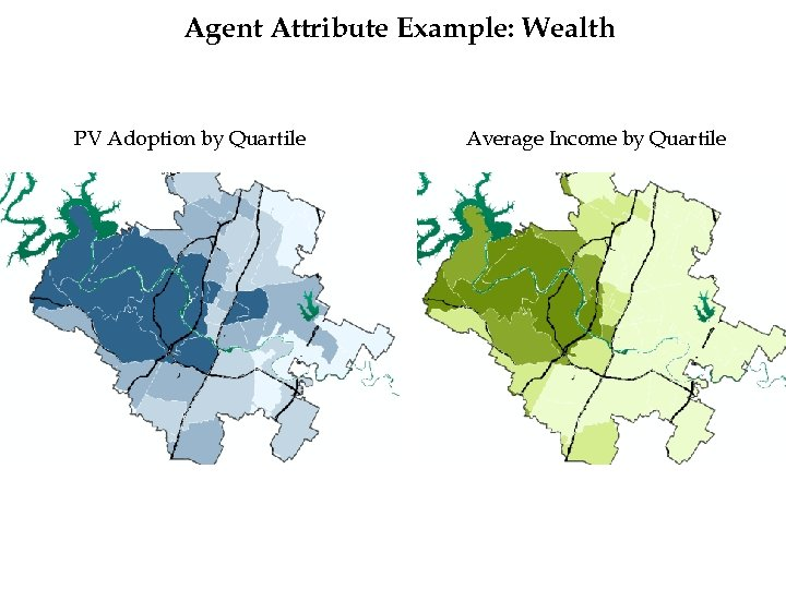 Agent Attribute Example: Wealth PV Adoption by Quartile Average Income by Quartile