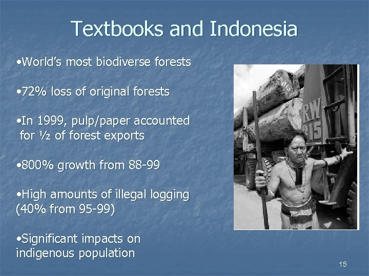 Textbooks and Indonesia • World's most biodiverse forests • 72% loss of original forests
