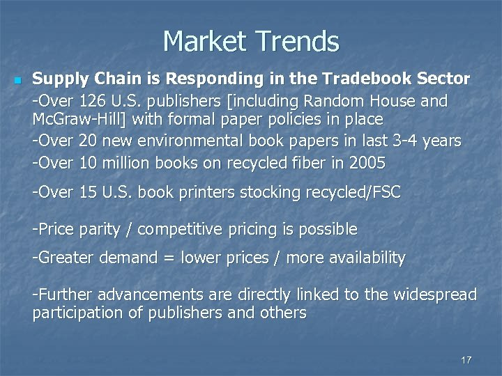 Market Trends n Supply Chain is Responding in the Tradebook Sector -Over 126 U.