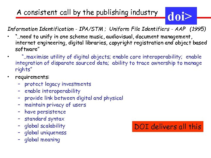 A consistent call by the publishing industry doi> Information Identification - IPA/STM ; Uniform