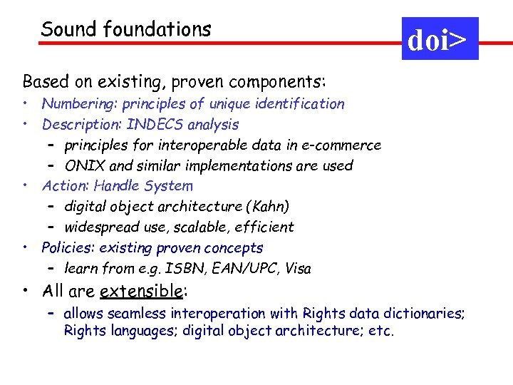 Sound foundations doi> Based on existing, proven components: • Numbering: principles of unique identification