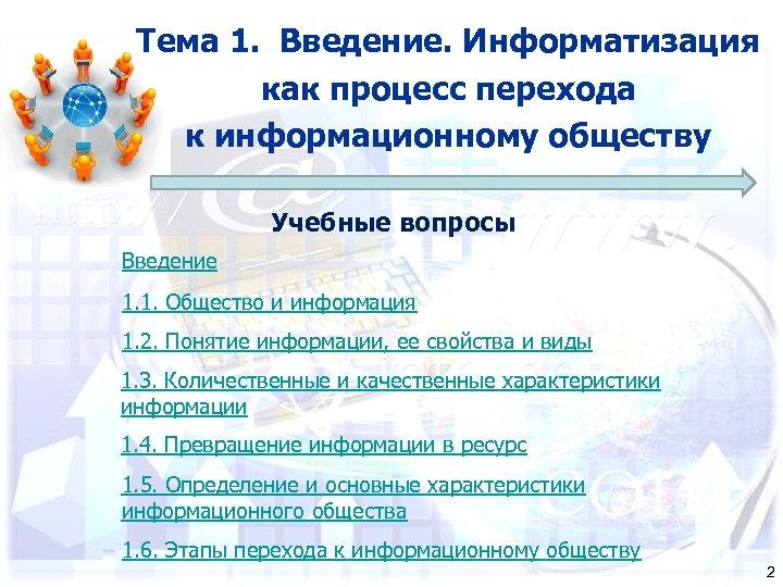 Тема 1. Введение. Информатизация как процесс перехода к информационному обществу Учебные вопросы Введение 1.