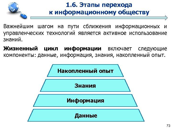 1. 6. Этапы перехода к информационному обществу Важнейшим шагом на пути сближения информационных и